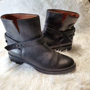 MADEWELL Leather Black Ankle Biker Boots 9.5